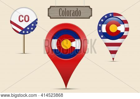 Colorado Us State Round Flag. Map Pin, Red Map Marker, Location Pointer. Hanging Wood Sign In Vintag