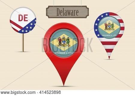 Delaware Us State Round Flag. Map Pin, Red Map Marker, Location Pointer. Hanging Wood Sign In Vintag