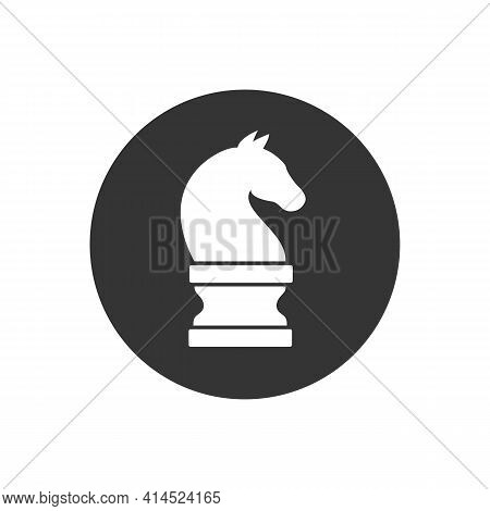 Chess Piece Knight White Icon Isolated On Black Background. Black Chess Horse In Flat Style