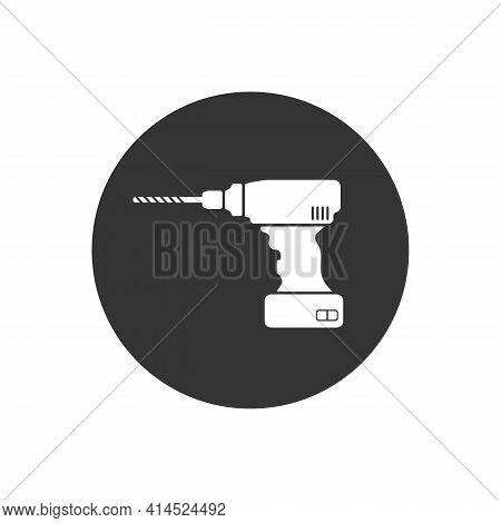 Drill Machine Solid White Icon. Element Of Drill Machine Icon For Mobile Concept And Web Apps. Thin