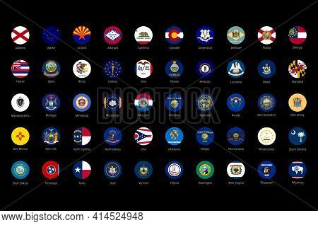 Usa American States All Flags In Alphabetical Order. All 50 Us States Vector Flags Set. Round Circle