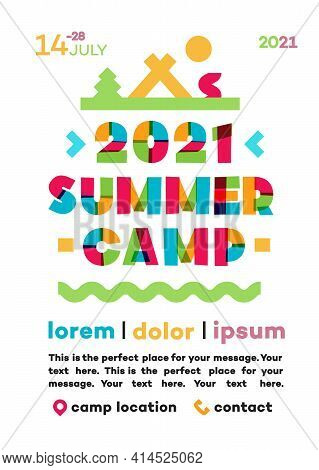 Summer Camp Poster With Nature Landscape Consisting Of Trees, Tent And Campfire For Holiday Party, K