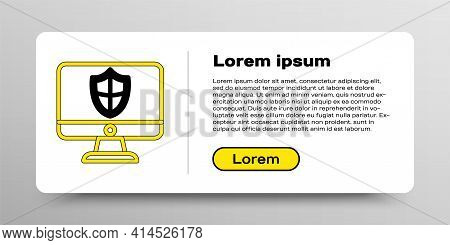 Line Computer Monitor And Shield Icon Isolated On White Background. Security, Firewall Technology, I
