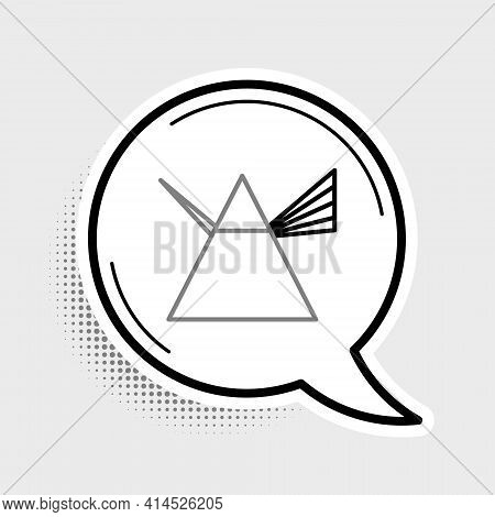 Line Light Rays In Prism Icon Isolated On Grey Background. Ray Rainbow Spectrum Dispersion Optical E