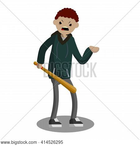 Man With Baseball Bat Is Extorting Money. Hand Holding Green Cash. Problem Of Urban Security. Thief