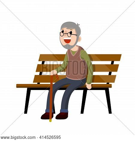 Grandfather Sit On Bench. Old Man With Cane. Rest And Lifestyle Of Funny Senior. Element Of Park. Co