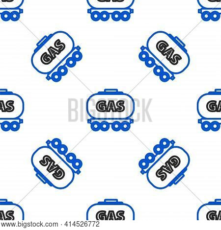 Line Gas Railway Cistern Icon Isolated Seamless Pattern On White Background. Train Gasoline Tank On