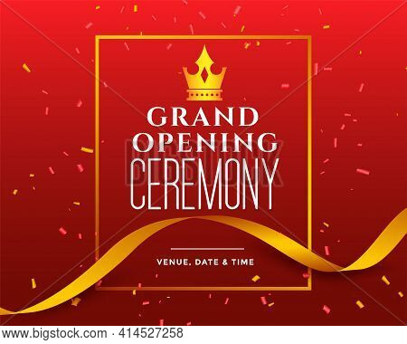 Grand Opening Ceremony Invitation Banner Template Vector Template Design