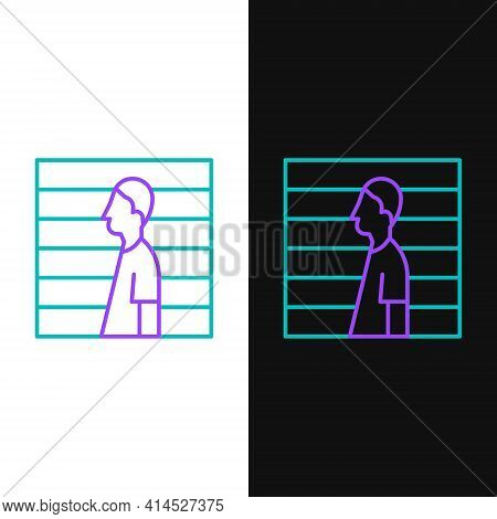 Line Suspect Criminal Icon Isolated On White And Black Background. The Criminal In Prison, Suspected