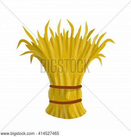 Sheaf Of Hay. Countryside Is A Stack Of Wheat Ears. Village Harvest. Yellow Dried Plants. Production