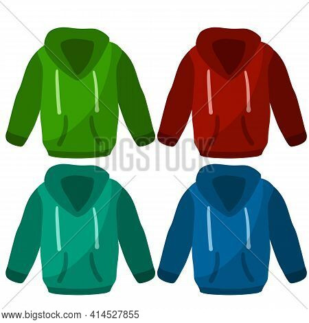 Hoodie With Hood. Blue. Green And Red Warm Clothing. Set Of Sweatshirt With Handles.