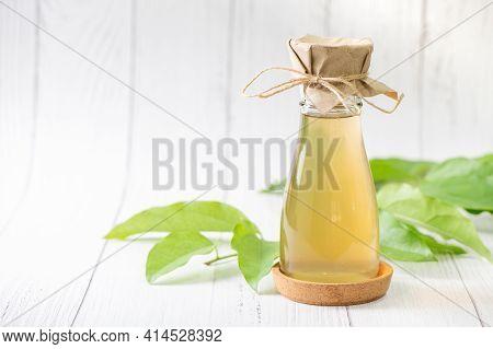 Kombucha Tea With Tiliacora Triandra Or Bamboo Grass Leaf, Cider Fermented Drink. Benefits Of Kombuc