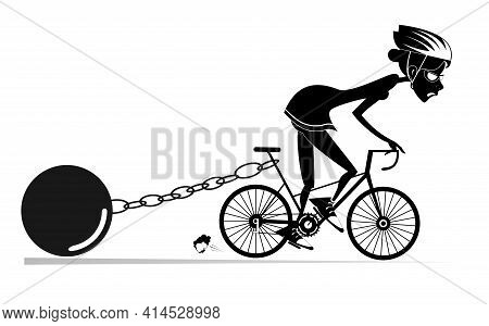 Hard Training Cyclist Woman Illustration.  Cyclist Woman Drags A Heavy Weight To Be Connected By The