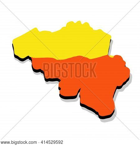 Map Of Wallonia And Flanders. State National Symbol. Area And Flag Of Belgium. Geography Of Europe