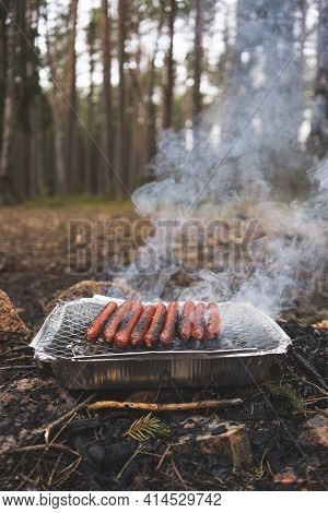 Grilling Sausages On Disposable Instant Grill. Grilling Pickniking In Nature Surrouned By Forest Tre