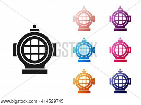 Black Aqualung Icon Isolated On White Background. Diving Helmet. Diving Underwater Equipment. Set Ic