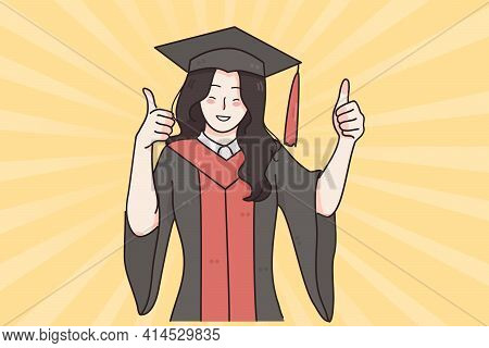 Successful Education, Graduation From University Concept. Young Smiling Happy Girl In Traditional Bo