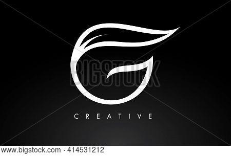 V Letter Logo With Monogram Leaf Concept In Black And White Colors Vector Illustration