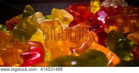 Colorful Gummy Bears Or Jelly Babies In Close-up - Studio Photography