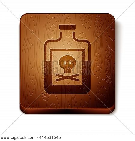 Brown Poison In Bottle Icon Isolated On White Background. Bottle Of Poison Or Poisonous Chemical Tox
