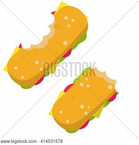 Sandwich. Bite Of School Lunch And A Burger. Food Waste. Flat Cartoon Illustration