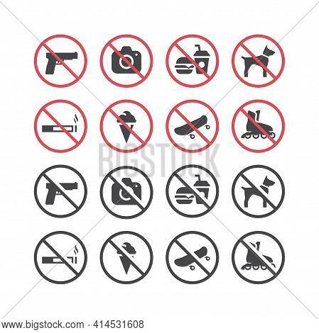 Red Prohibition Vector Icon Set. No Smoking, No Food, No Pets, No Guns Sign Set.