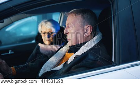 Elderly Couple Witnessing Crime Scene In Their Car. Traffic Accident. Flashing Police Lights. High Q