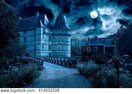 Old Castle At Night, Spooky Mansion In Full Moon. Creepy View Of Mystic Castle And Road. Scary Myste