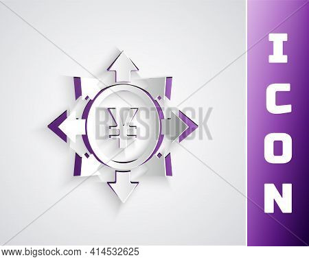 Paper Cut Coin Money With Yen Symbol Icon Isolated On Grey Background. Banking Currency Sign. Cash S