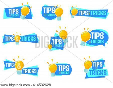 Tips And Tricks Lettering Set. A Collection Of Lettered Tips And Tricks Balloons, Bursts, Icons And