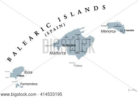 Balearic Islands, Gray Political Map, With The Main Islands Mallorca, Ibiza, Menorca And Formentera.