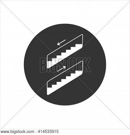 Escalator White Icon In Flat Style. Vector