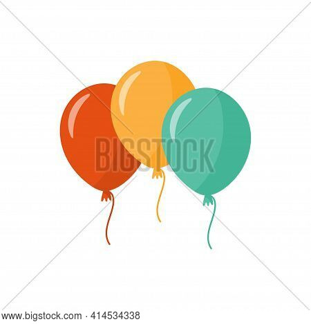 Bunch Of Balloons. Three Colorful Balloons, Isolated On White Background. Happy Birthday, Party Conc