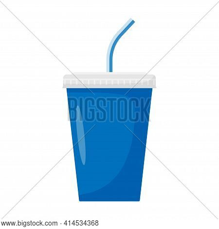 Paper Cup With Drinking Straw For Soda Or Cold Beverage, Isolated On White Background. Plastic Or Pa
