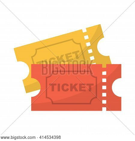 Ticket Icon. Pair Of Yellow And Red Movie Ticket. Vector Illustration, Isolated On White Background.