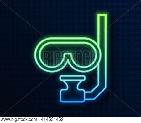 Glowing Neon Line Diving Mask And Snorkel Icon Isolated On Blue Background. Extreme Sport. Diving Un