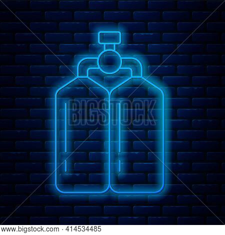 Glowing Neon Line Aqualung Icon Isolated On Brick Wall Background. Oxygen Tank For Diver. Diving Equ