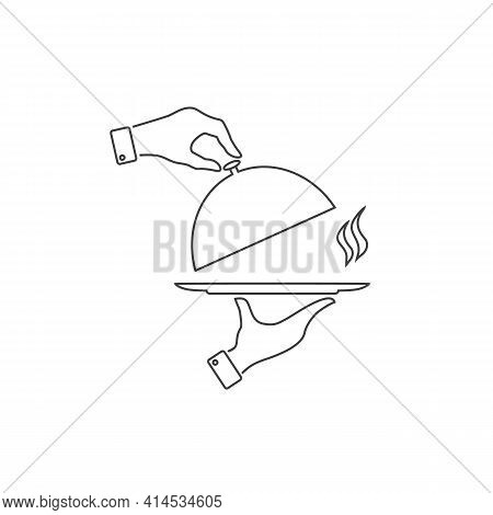 Covered Plate Flat Line Icon. Vector Illustration
