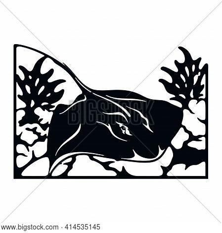Sea Stingray, Wildlife Stencils - Silhouettes, Wildlife Clipart, Iron On, Vector, Vinyl Design.