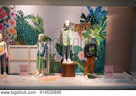 H&m Shop At Paradise Park, Bangkok, Thailand, Mar 21, 2021 : Fashionable Kids Clothing Brand In Summ
