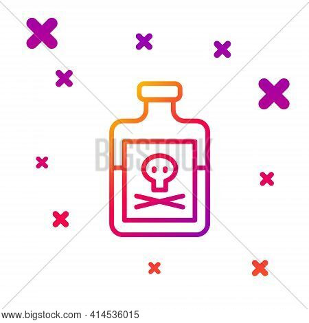 Color Line Poison In Bottle Icon Isolated On White Background. Bottle Of Poison Or Poisonous Chemica