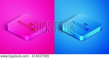 Isometric Line Police Rubber Baton Icon Isolated On Pink And Blue Background. Rubber Truncheon. Poli
