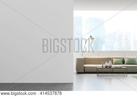 Modern Living Room Interior With Empty White Wall, Panoramic View Of Singapore City Center, Beige So