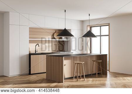 Corner View Of Bright Cosy Kitchen Room Interior With Dining Table, Two Bar Stool, Oak Wooden Parque