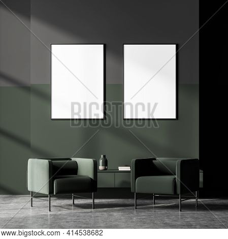 Dark Modern Scandinavian Waiting Room Interior With Two White Empty Poster In A Row On The Wall And