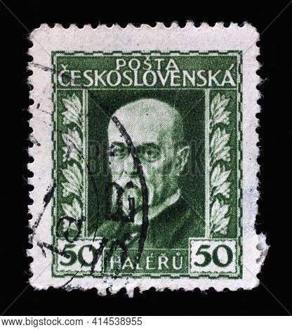 ZAGREB, CROATIA - SEPTEMBER 18, 2014: Stamp printed in Czechoslovakia shows first President of Czechoslovakia - Thomas Garrigue Masaryk, circa 1925