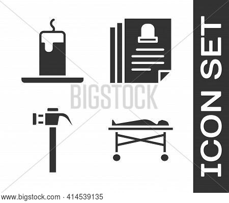 Set Dead Body In The Morgue, Burning Candle, Hammer And Death Certificate Icon. Vector
