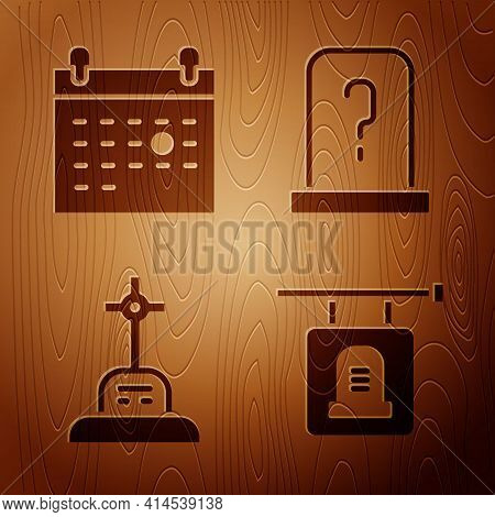Set Signboard Tombstone, Calendar Death, Grave With Cross And Grave With Tombstone On Wooden Backgro