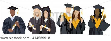 Different Ethnic Graduated Student. Happy Students With Diplomas Wearing Academic Gown And Graduatio