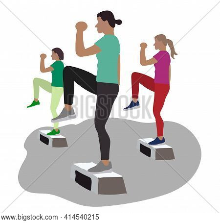 Women Doing Exercise On Aerobic Step. Active And Healthy Lifestyle.
